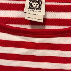 Anne Klein Tops - Red and white striped top.